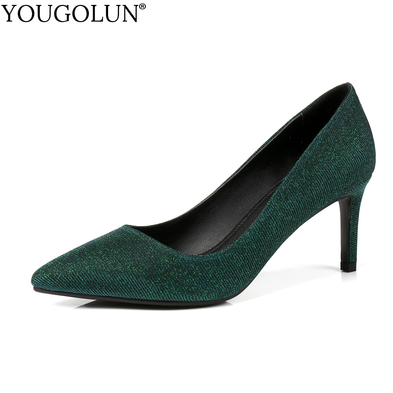 YOUGOLUN Women High Heels 7.5 cm Sexy Genuine Leather Pumps Elegant Woman Gray Red Blue Green Pointed toe Party Shoes #A-133 игрушка ecx ruckus gray blue ecx00013t1