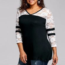 e7233d2422294 (Ship from US) Plus Size Cutwork Lace Up Trim Loose Blouse Shirt Women  Casual Long Sleeve Strip Print Summer Tees Top Female Fashion Shirts GHC
