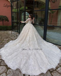 Image 2 - Liyuke רקמת אפליקציות עם מסולסל צוואר אונליין החתונה מלא שרוול שמלת כלה