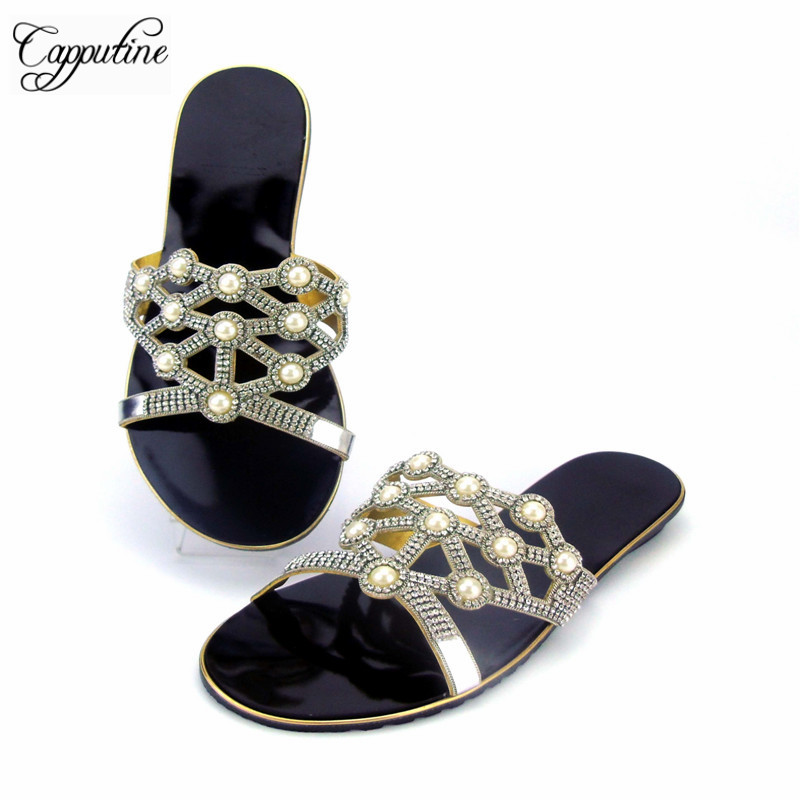 Capputine Summer New Style Rhinestone Slippers Shoes African Woman Low Heels Shoes For Party Shipping By DHL ABS1115 capputine new summer sandals woman shoes 2017 fashion african casual sandals for ladies free shipping size 37 43 abs1115