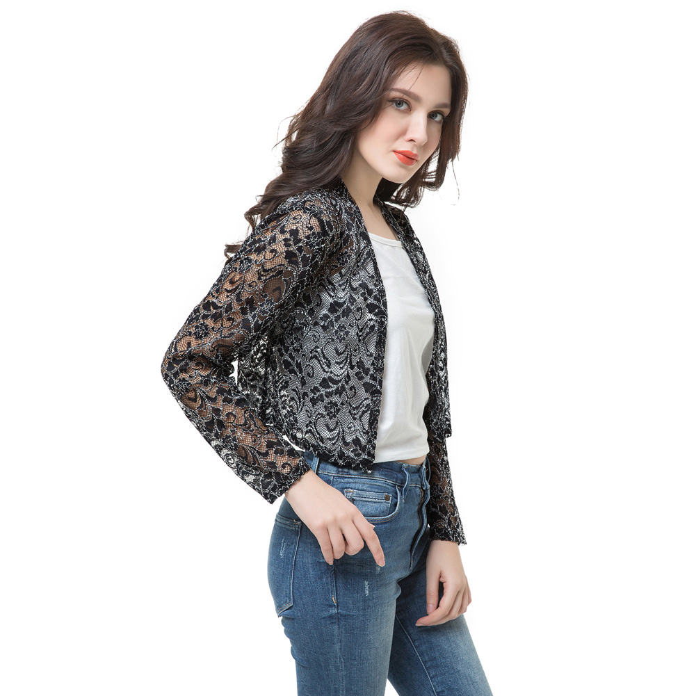 Europe Women Short Outerwear Open Front Lace Long Sleeves Thin ...
