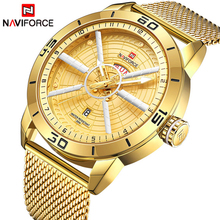 NAVIFORCE Men Fashion Casual Watches Men Gold Quartz Clock Male Luxury Brand Waterproof Business Wrist Watch Relogio Masculino