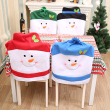 2018 gift Santa Claus Elk Snowman Cap Cover Christmas Dinner Table Party Red Hat Back Covers Xmas Decoration