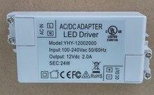 1 piece 12V 24w 2A 100V-240V Lighting Transformers high quality safe Driver for LED strip 3528 5050 power supply