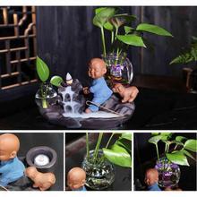 The Little Monk Ceramic Backflow Incense Burner Smoke Waterfall Stick Holder Creative Home Decor Crafts Censer