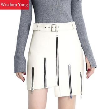 White Real Sheep Skin Genuine Leather Wrap Skirt High Waisted Womens Party Sexy Zipper Office Ladies Asymmetrical Mini Skirts darkinlove women gothic skirt butterfly embroideried high waisted sexy lace hem maxi dovetail wrap party skirt