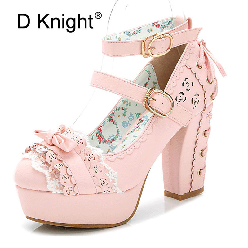 Lolita Shoes Sweet Princess Women Pumps Japanese Lace Bow Platform High Heels Autumn Spring Buckle Strap Mary Janes Shoes Woman xiaying smile woman pumps shoes women mary janes british style fashion new elegant spring square heels buckle strap rubber shoe