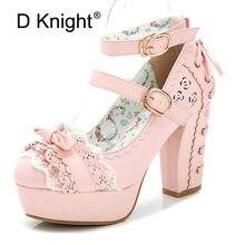 3fc362ce0 Lolita Shoes Sweet Princess Women Pumps Japanese Lace Bow Platform High  Heels Autumn Spring Buckle Strap
