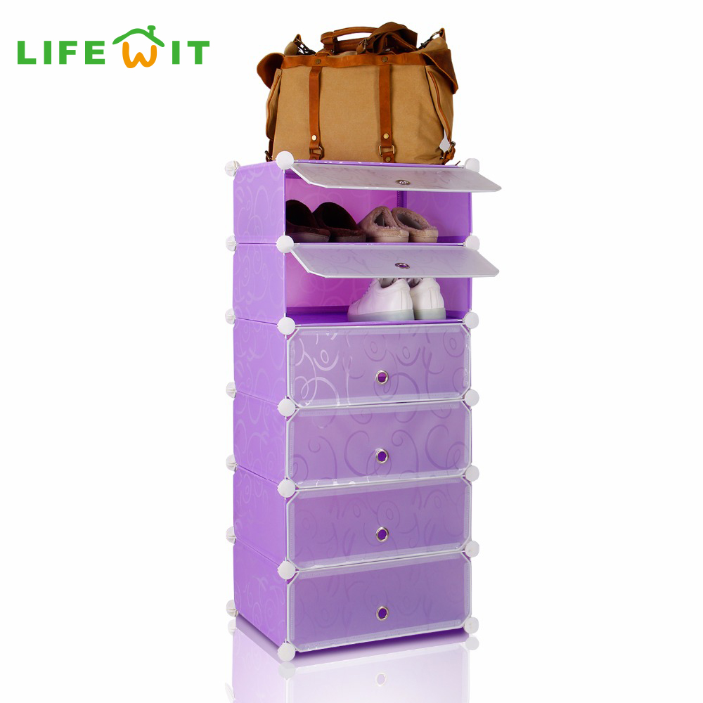 Lifewit Diy Shoe Rack 6 Cube Portable Cabinet Closet Shoe Storage Organizer Plastic Shelf Purple