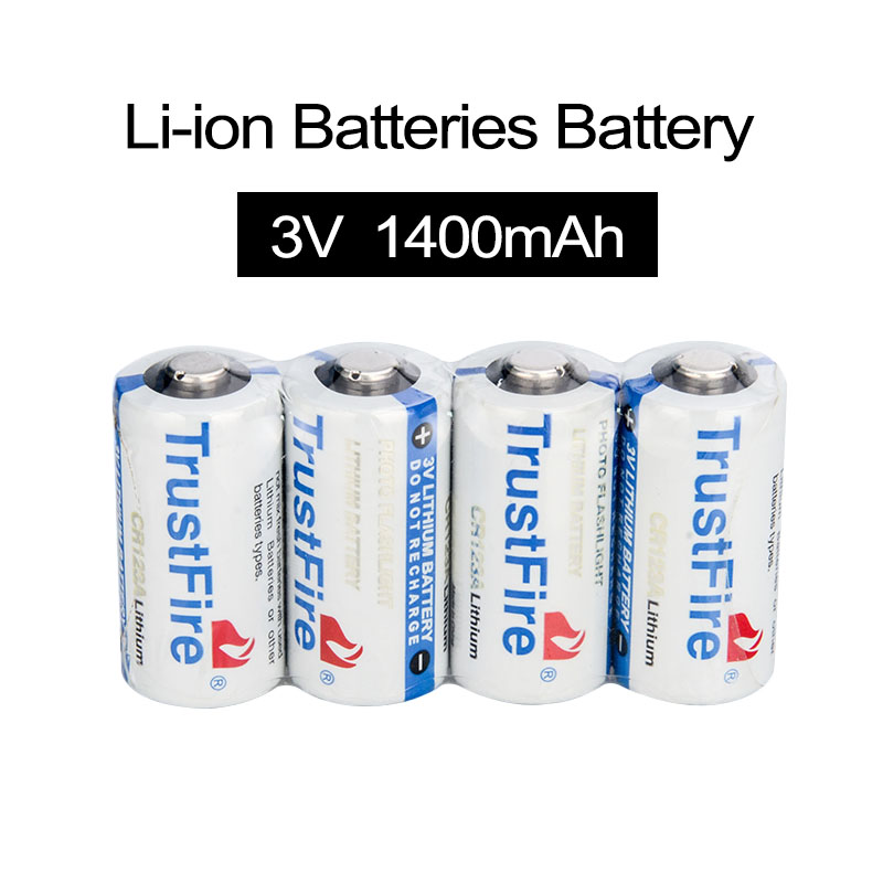 4pcs/lot High Quality Trustfire CR123A 16340 Lithium Li-ion Batteries Trustfire 3V Battery 1400mAh lc 16340 3 7v 1000mah li ion batteries yellow 2 battery pack