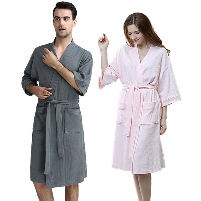 9004ef9ea6 100% Cotton Plus Size Waffle Kimono Bath Robe Men Towel Suck Sweat Knee Length  Bathrobe Male Summer Sexy Dressing Gown for Women