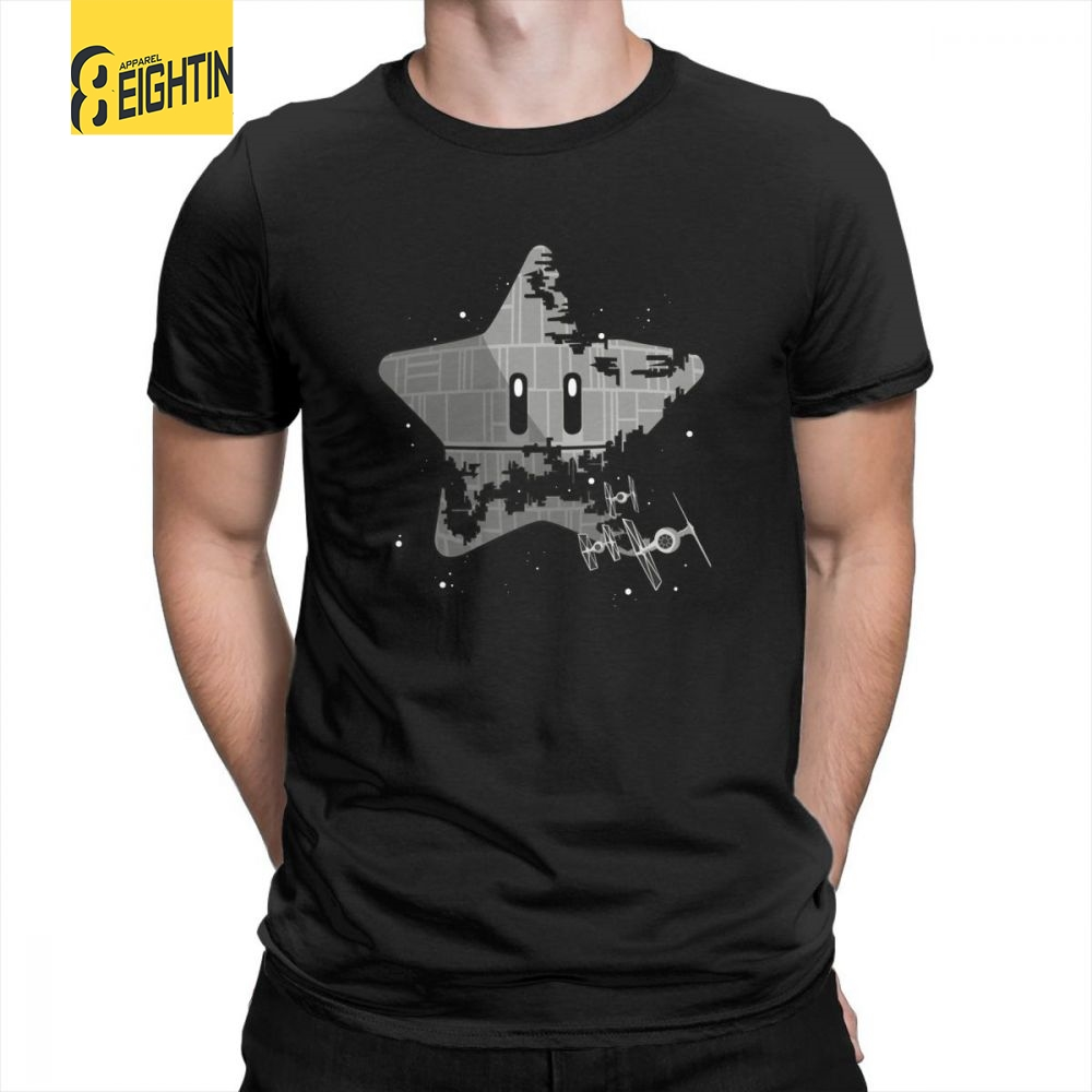 Super Death Star Star Wars Mario Short Sleeve Tee Shirt Classic Fit Creative Pure Cotton Crew Neck T Shirts Male T-Shirts Plus