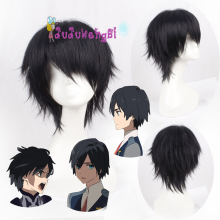 DARLING in the FRANXX Code 016 HIRO Cosplay Wig Black Straight Synthetic Hair Adult