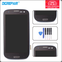 Blue I9300 LCD Display For Samsung Galaxy S3 I9300 Touch Screen Digitizer With Home Button Assembly