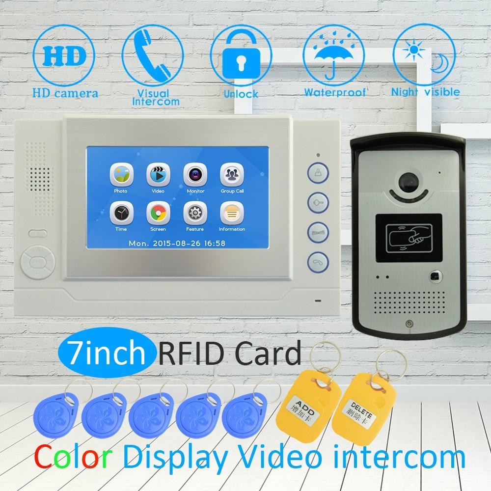 (1 SET) Touch Panel 7 Inch LCD Monitor RFID Unlock Function HD Night Vision IR Camera Video Door Phone System Doorbell Intercom