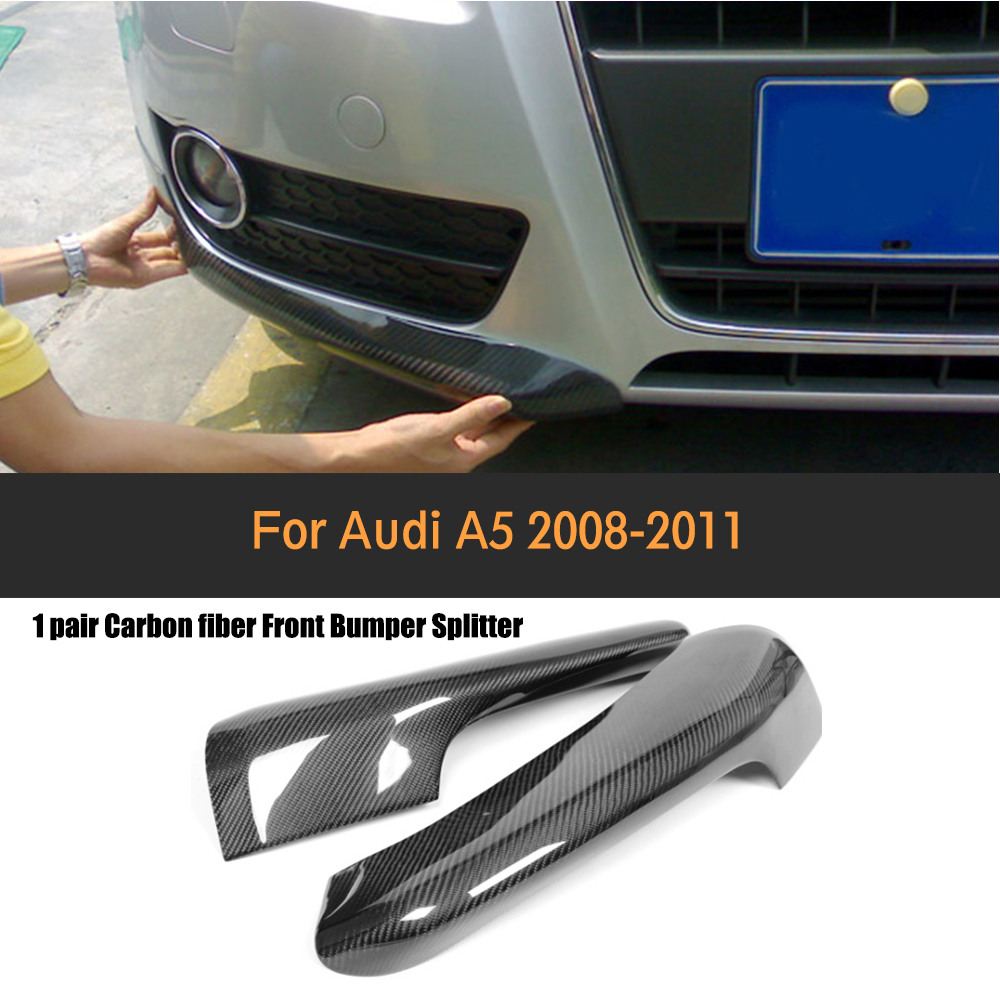 Carbon Fiber Front Bumper Side Diffuser Splitter for Audi A5 standard bumper 2008 2009 2010 2011