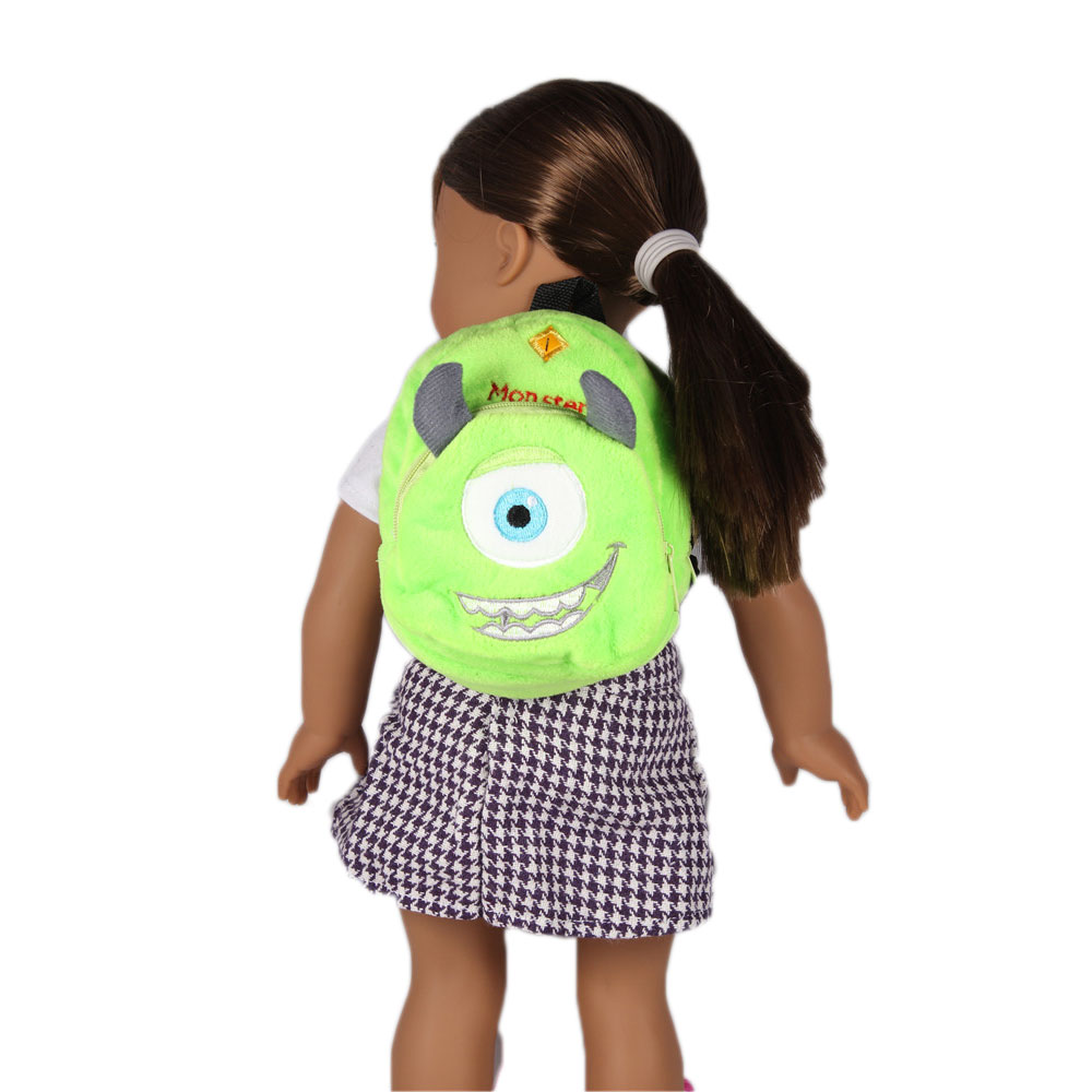 Green Cartoon Animal Doll Backpack Doll Accessories Fits American Girl Dolls and other 18 inch dolls HL-5 9 colors american girl doll dress 18 inch doll clothes and accessories dresses