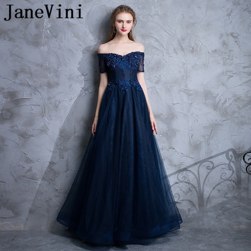JaneVini Navy Blue Lace Evening Dresses With Sleeves Lace Appliques Beaded Floor Length Long Mother of the Bride Dress Plus Size