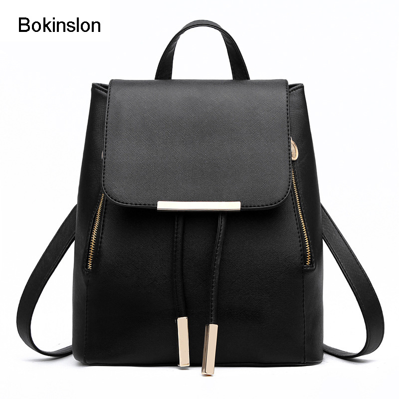 Us 19 2 Bokinslon Womens Backpack Bag Fashion Elegant Pu Leather Lady Bags College Wind Candy Colors Women Carry In Backpacks From