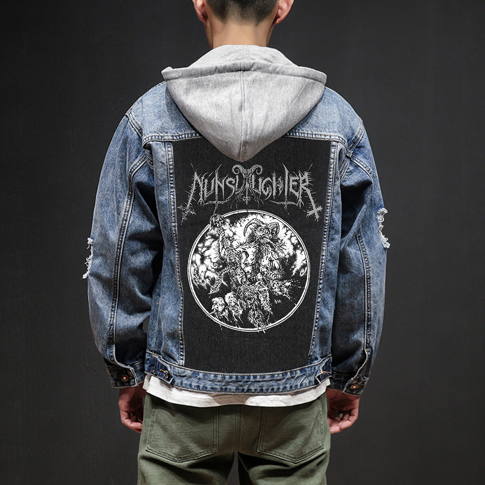 Bloodhoof Store Nunslaughter Rock And Roll Death Heavy Hardcore Punk Style Patch Designs Denim Jeans Mens Jackets And Coats Highly Polished Jackets & Coats Men's Clothing