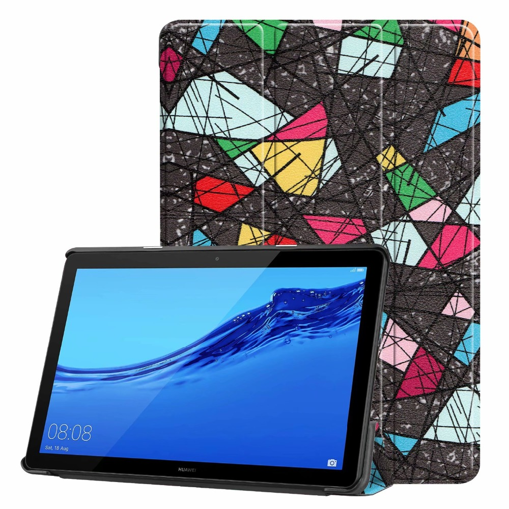 Case For Huawei T5 10 Tablet Fashion Colorful Print PU Stand Shell For Huawei Mediapad T5 10 AGS2-W09/L09/L03/W19 Cover +Pen