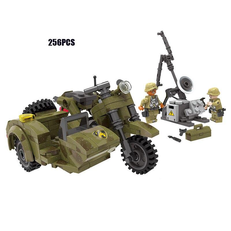 ww2 modern military across battlefield minifigs building block army figures  batisbricks motorcycles with sidecar bricks toys