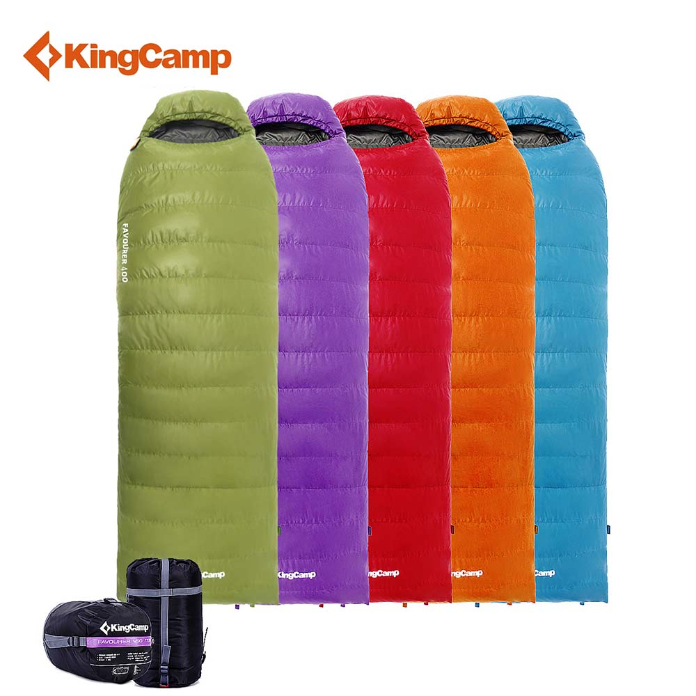 KingCamp Outdoor Envelope Camping Sleeping Bag for Spring & Autumn Ultralight Portable Duck Down Lazy Bag with Hood for Hiking kingcamp envelope cotton lazy bag portable ultralight flannel lined sleeping bag 2 season for camping backpacking