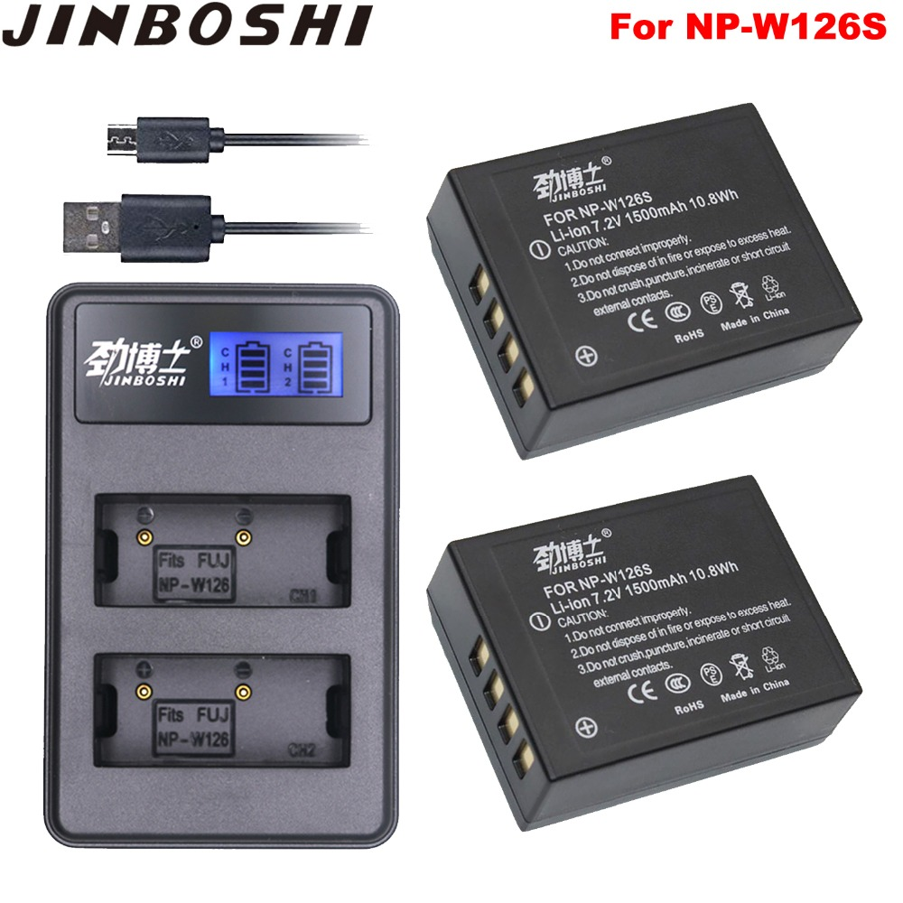 2Pcs NP-W126S NP-W126  NP W126S Batteries + USB Dual Charger For Fujifilm Fuji X-Pro1 XPro1 X-T1 XT1 HS30EXR HS33EXR X PRO1