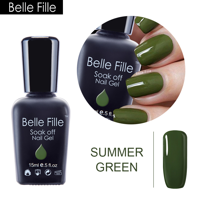Belle Fille Nail Gel Polish Forest Green UV Soak Off Nails Manicure Store Need Grass Green Color Coat UV Gel Nail Polish Nails