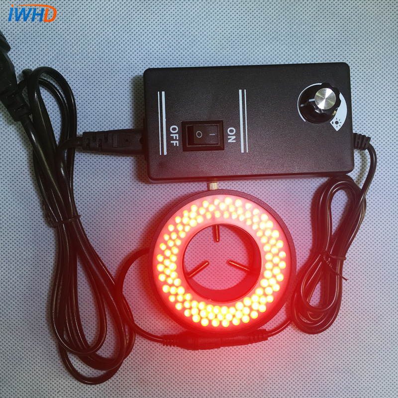 Microscope Ring Light Source Aperture 41mm Red Machine Vision Detection LED Lamps Source Brightness Adjustable Special Lamp