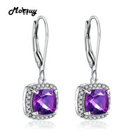 MoBuy MBEI001 Cushion Natrual Gemstone Amethyst Drop Dangle Earring 925 Sterling Silver White Gold Plated Fine