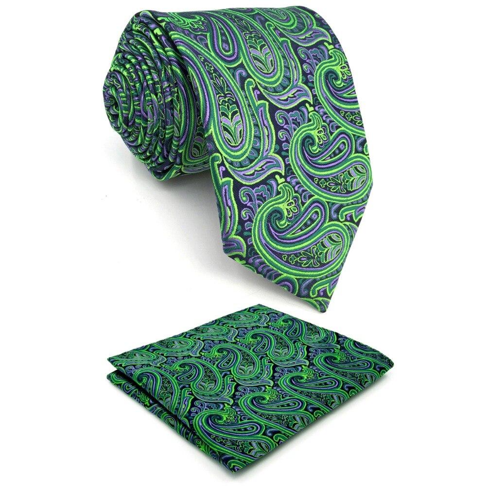 "Extra long size Paisley Green Purple Black Mens Necktie Set 100% Silk Jacquard Woven Brand New Fashion HANKY Ties for men 63"""