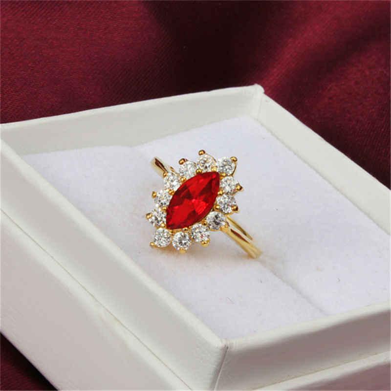 オリーブ青赤ジルコンクリスタル指リング新しいファッションウェディングジュエリーチャーム婚約リングゴールドプレートパーティー誕生日ギフト