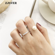 ZJSVER Korean Jewelry 925 Sterling Silver Rings Fashion Geometric S Shape Pearl Adjustable Women Ring For Attending Party