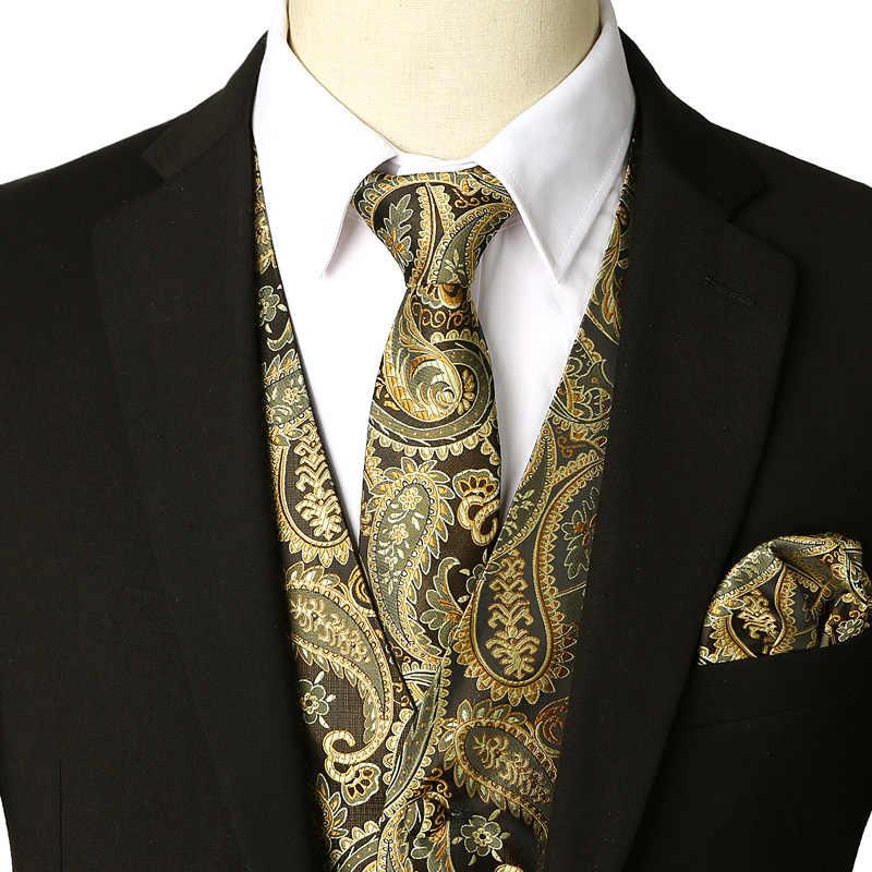 ペイズリーのチョッキベストネクタイポケットスクエアセット 2019 ブランド新ビジネス結婚式タキシードスーツ男性 Chaleco ため Hombre