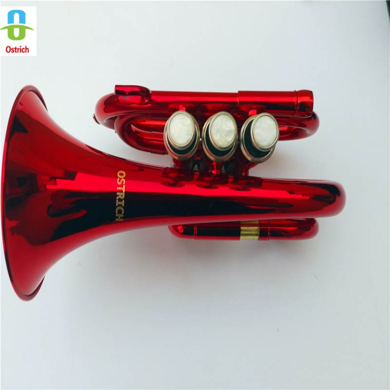 2018 New Professional School Band Red Pocket Trumpet  Red Pocket Trumpet With Case+ Brass Pocket Trumpet
