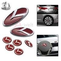 7 cái 3D Red Chrome Xe Tạo Kiểu Tốc Độ Emblem Badge Kit (lưới tản nhiệt Thân Cây Chỉ Đạo Wheel 4 Vành) cho 2011-2014 Kia Optima K5 Phụ Kiện