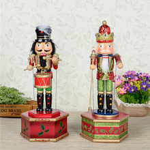 HT057 toy 31CM fine painted nutcracker Music Box walnut soldiers Christmas crafts birthday gift