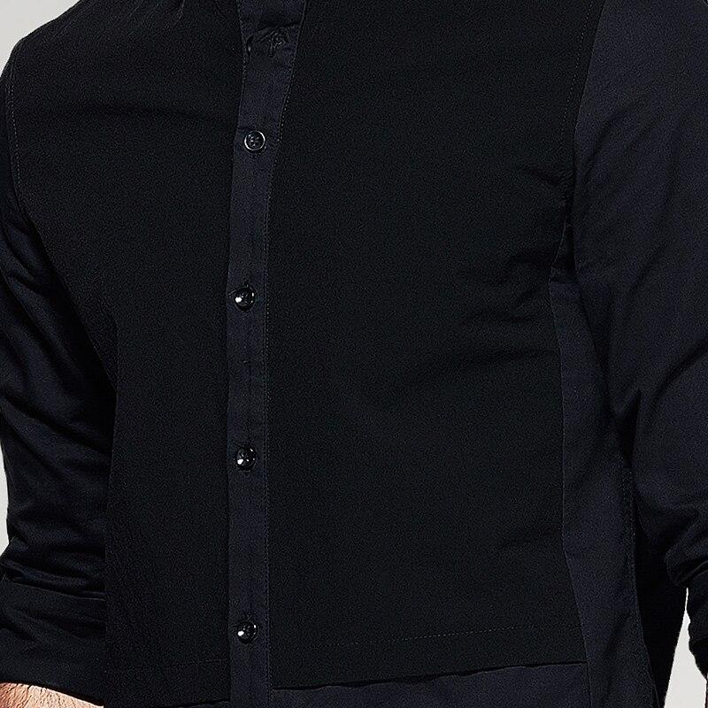 KUEGOU Jesenske moške priložnostne majice Patchwork črna barva - Moška oblačila - Fotografija 4