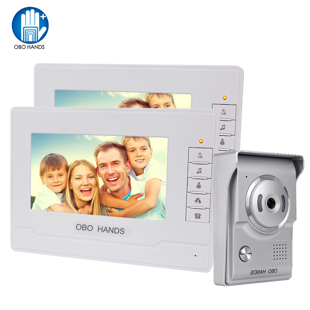 Home Video Intercom System 7'' Color Video Door Phone Door Bell Camera IR Night Vision 2 Monitors Doorphone Visual Doorbell