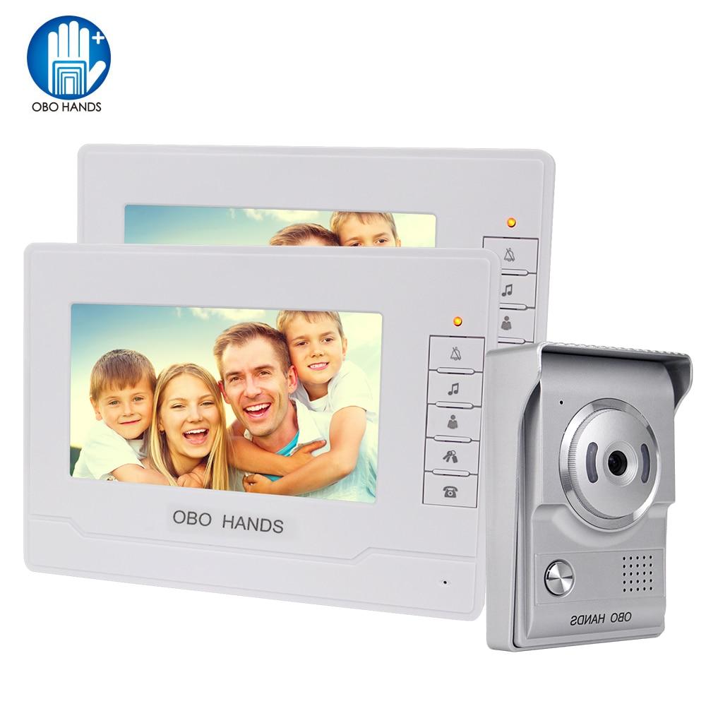Home Video Intercom System 7'' Color Video Door Phone Door Bell Camera IR Night Vision 2 Monitors Doorphone Visual Doorbell