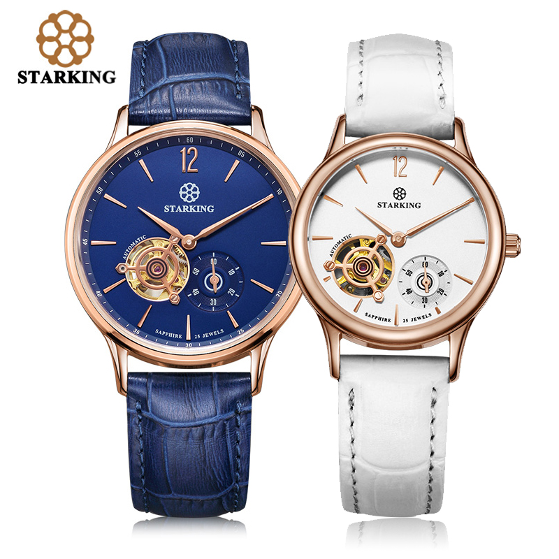 STARKING Lovers Automatic Mechanical Wristwatches Skeleton Tourbillon Analog Geneva Leather Strap Famous Brand Watch AM/L0213