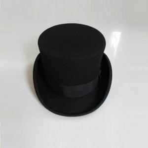 Image 3 - בריטי סגנון גברים נשים צמר פדורה Steampunk מגבעת צילינדר קוסם קסם כובע טוב חבילה צמר מגבעות לבד כובע 12cm גבוהה B 8114