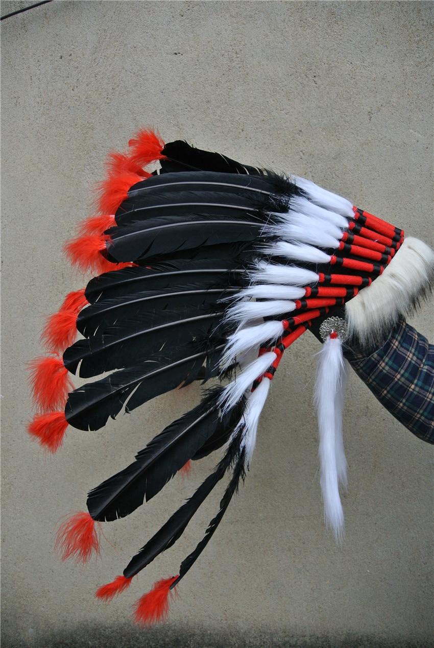 21 inch black Feather headdress hand made halloween decor feather headpiece costumes