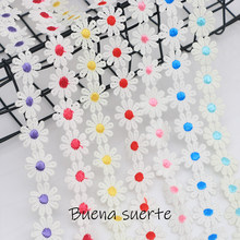 Buena suerte Colorful Daisy Flower Lace Trim Knitting Wedding Embroidered Diy Handmade Patchwork Ribbon Sewing Supplies Crafts(China)