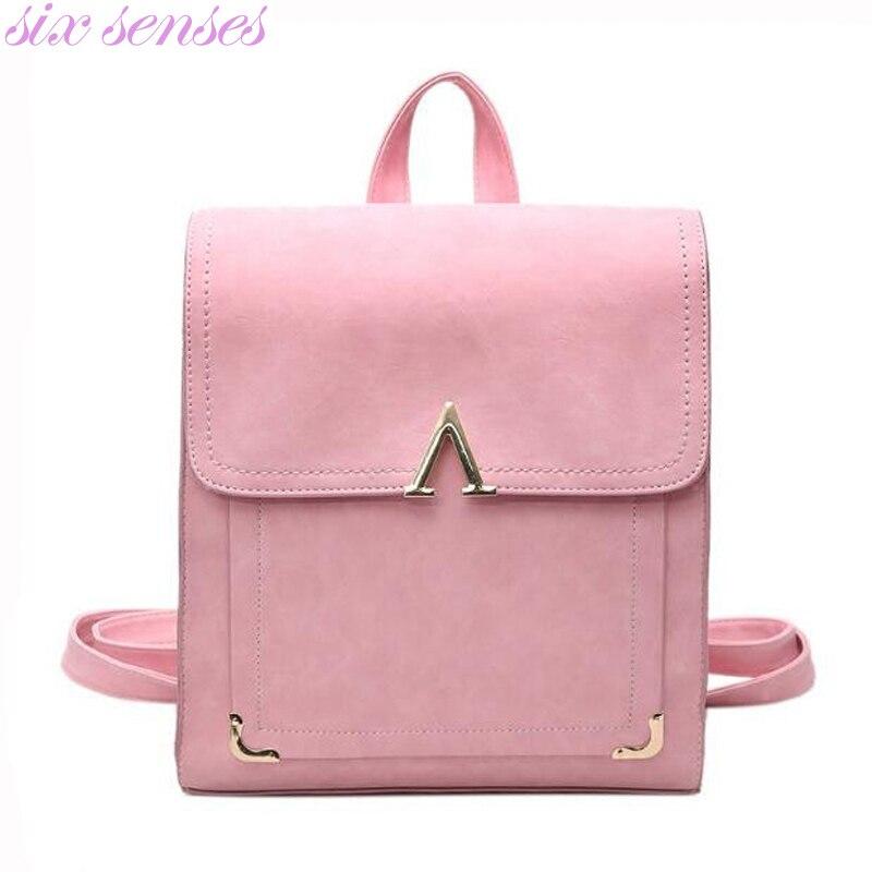 Six senses women backpack pu leather school bags Travel bag big capacity shoulder bag Fashion travel rucksacks Mochila XD4067 the big six