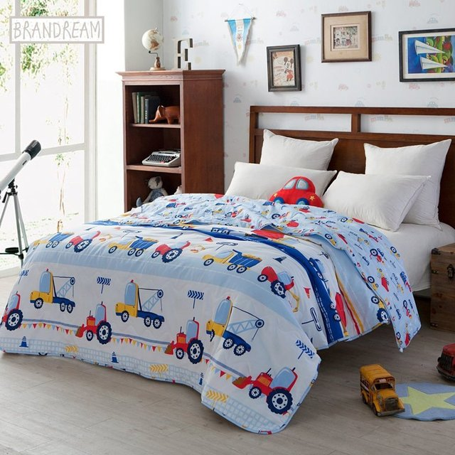 blue kids bedding trucks printed boys car quilt comforter throw