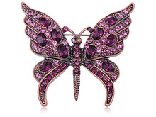 Vintage Inspired Repro Amethyst Purple Crystal Rhinestone Butterfly Brooches Pins