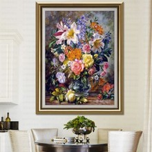 Embroidery-Kits Oil-Painting Cross-Stitch-Sets Silk-Thread Rose-Lily Small-Picture Williams