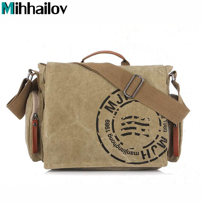 016 Vintage Mens Messenger Bags Canvas Shoulder Hand Bag Fashion Men Business Crossbody Bag Printing Brief Travel Handbag KY-62